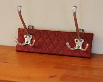 Vintage coat rack / red skai leather / mid century / 1960s 60s coatrack