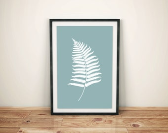 Blue White Fern Poster, Print 50x70cm,Instant download, Ready to Print, Scandinavian Poster, Home Decor