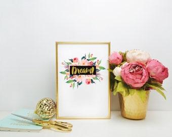 Inspirational Art Print, Digital Floral Print