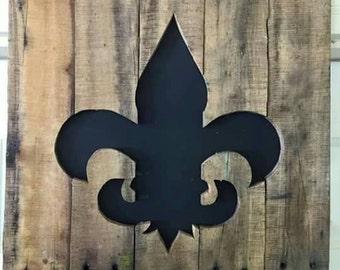Reclaimed wood Fleur De Lis wall art