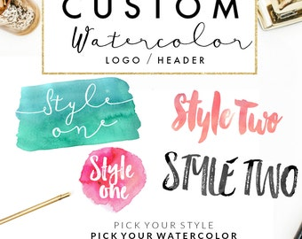 Custom Watercolor Logo // Watercolor Branding // Watercolor Header