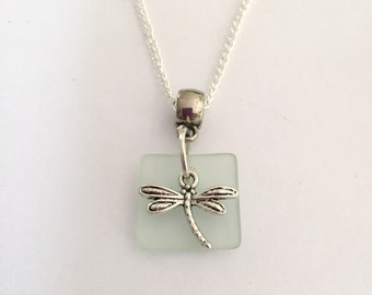Sea Glass and Dragonfly Pendant Necklace