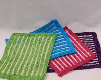 Candy Stripe Knitted Dish Cloths