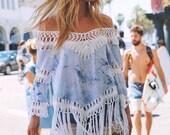 Bahama Breeze Tie Dye & Crochet Fringe Tunic