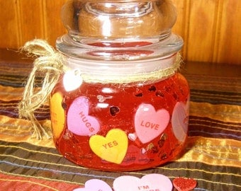 Valentine's Day Conversation Hearts Forever Gel Candle, 8 oz, Refill the votive jar, Keep the candle forever!