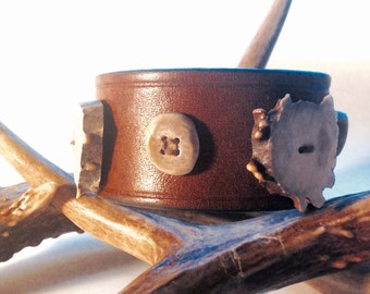 Leather Cuff Embellished with Antler Buttons