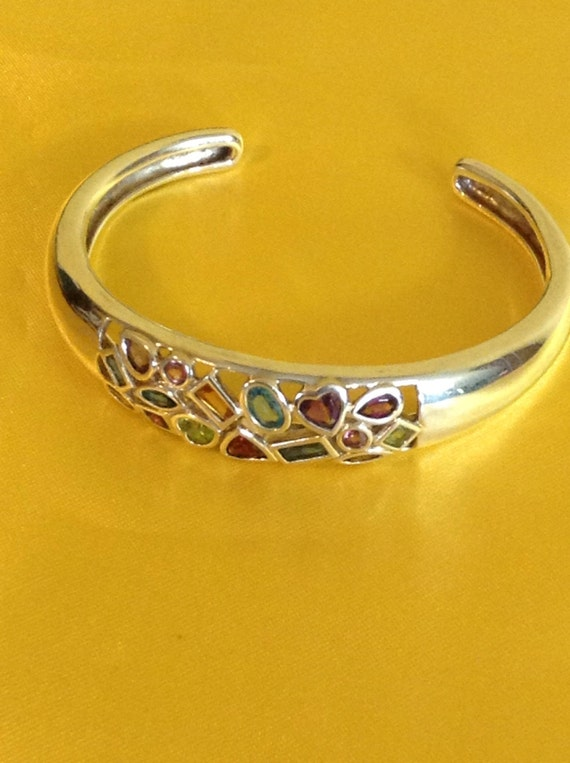 Multi gemstone sterling silver cuff bracelet