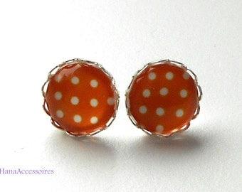 Silver earrings * orange dots * red earrings
