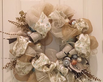 Elegant Champagne Holiday/Christmas Wreath