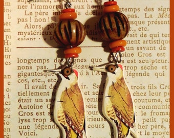 "Bird ""Green yellow Woodpecker"" earrings"