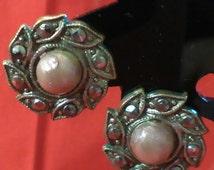 vintage earrings, 1950s earrings, marcasite earrings, 50s earrings, flower earrings, vintage jewellery, vintage jewelry, wedding earrings