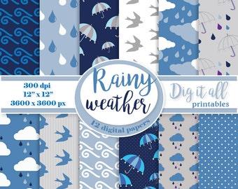 Rainy weather digital paper pack Umbrella paper Spring background paper Printable paper Blue scrapbook paper Instant download clouds paper
