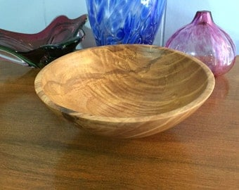Woodturning - Hand turned ash bowl with figured grain and natural features