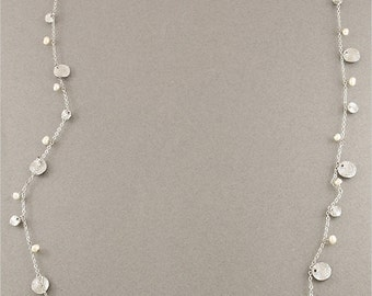Silver Mini Hammered Disc & Pearl Necklace