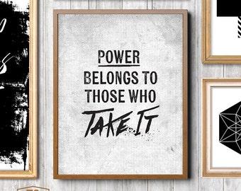 "Digital print art, Mr. Robot poster, Mr Robot TV show, Mr Robot quote prints, ""Power Belongs To Those Who Take It"" printable art"