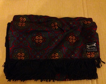 Duggie • Patterned Scarf • 1960's • Paisley • Psychedelic • Red • Blue • Black • Made in Great Britain