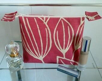 Striking Magenta Tulip Design Cosmetics/Make-Up Bag