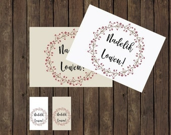 Instant Printable Christmas Card &Gift Tags in Cornish Nadelik Lowen!, Holiday Tags  - Merry Christmas - Instant Download