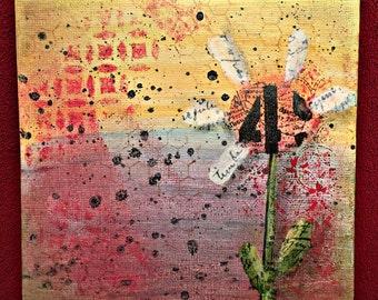 "Daisy Art, Original Mixed Media Painting, 6""x6"""