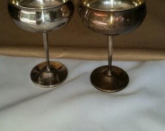 Set Of 2 Vintage Sheridan EPS Silver Plated Toasting Goblets