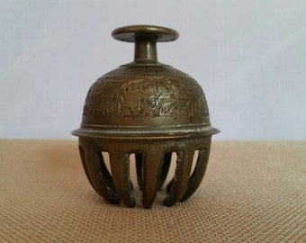 VINTAGE BRASS BELL Candle Holder - Made in India