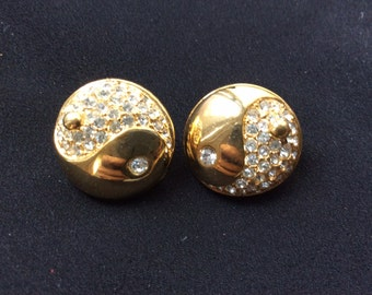 Vintage Ying Yang Gold Earrings