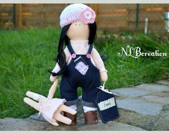 Doll fabric doll cloth INES 100% handmade