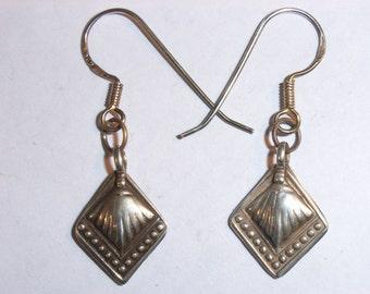 6298: Delicate Antique Silver Earrings, Pakistan