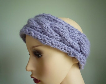 Hand knit lilac cabled headband, wool and alpaca