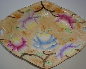 Vintage Maling PEONY Pottery Open Handled Dish