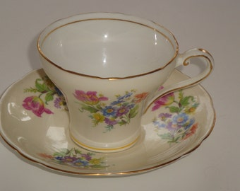 Aynsley Corset Shape Floral and Tulip Tea Cup and Saucer