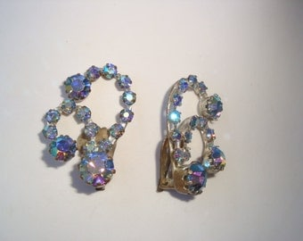 Signed Triad AB Crystal Clip Earrings
