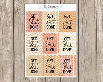 Get stuff Done, Full Box Stickers, Motivational Stickers, Inspirational Stickers, for use with EC, full box, funny, autumn, orange, gold