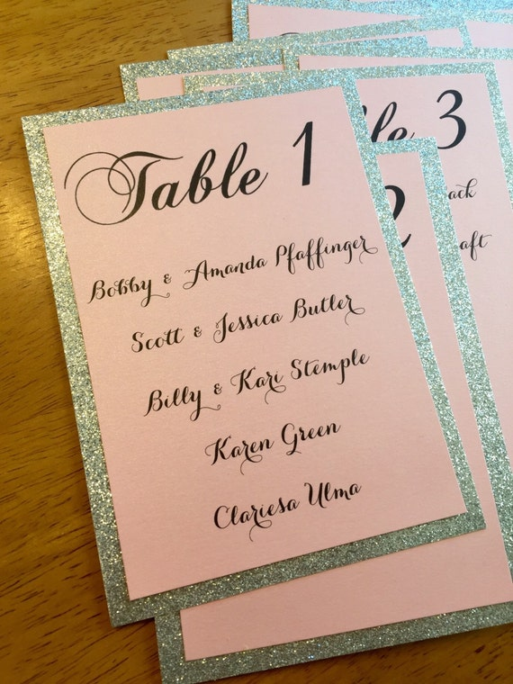 Table Assignment Cards Pink and Silver Wedding Table Number
