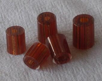 """Blown Glass Tube Beads """"Amber Pillars"""" Pkg of 5 beads."""