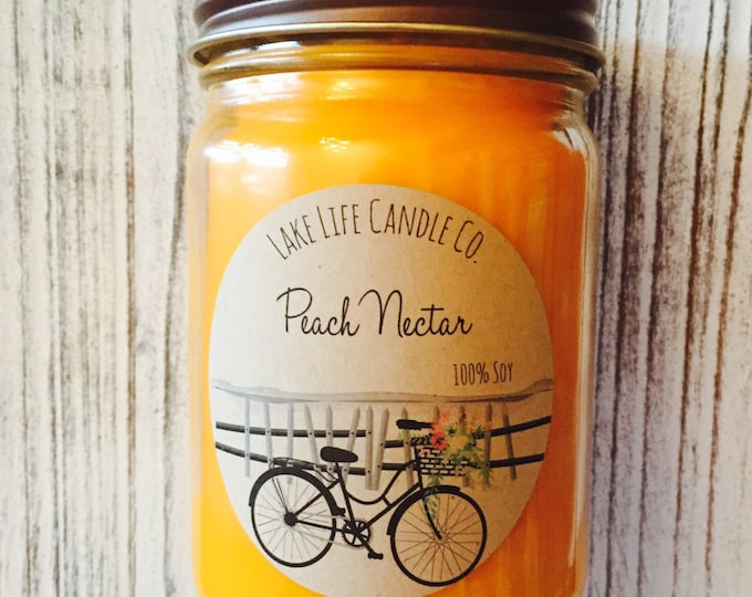 Market Collection: Peach Nectar Handmade Soy Candle, Lake Life Candle Co.