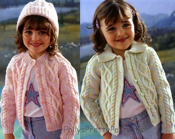 Instant Download - PDF Knitting Pattern for 2 Styles of Aran Cardigans to fit Chest sizes 20 to 32 Inches