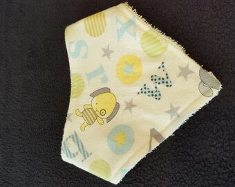 Light yellow Baby Bandanna Bib With Terrycloth Backing