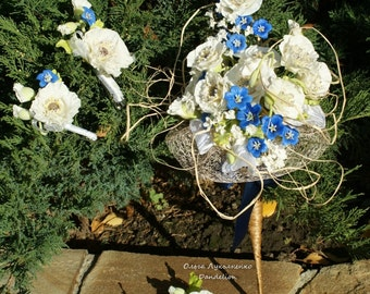 Wedding bouquet, barrette crocodile-for the bride and boutonniere for the groom's boutonniere for witnesses. Created from a cold porcelain.