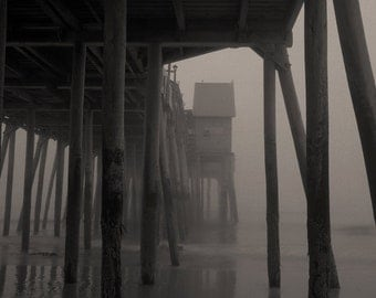 Old Orchard Beach, Maine photo of pier in fog