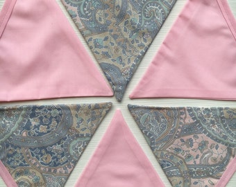 Vintage paisley baby blue and pink  boho style bunting | bohemian | Garden Party | Girls Room | Nursery | Baby | Wedding