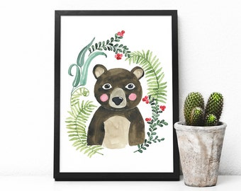 Wall Art Print, printable poster, instant download, nursery wall art animals, orginal watercolor painting, Woodland animals, bear, forest