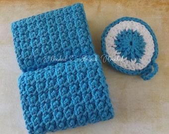 Handmade Crochet Exfoliating washcloth and facial scrubbie set, bath spa set, cotton facecloths, blue facecloth Ready to ship