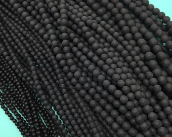 Matte Onyx Beads, 4mm Matte Onyx, 6mm Matte Onyx, 8mm Matte Onyx, 10mm Matte Onyx,12mm Matte Onyx Beads,Onyx Beads, Matte Black, Matte Onyx