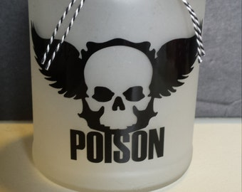 Winged Skull Poison Candle Jar Halloween