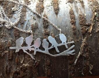 Birds on a branch silver pendant, by Zephirine