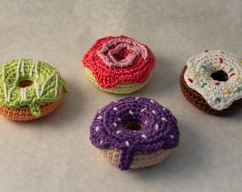 crochet donuts - set of 4, play food, crochet food, amigurumi donuts
