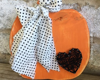 MADE TO ORDER-- pumpkin wooden decor with string art heart and lace - pumpkin shape - wood pumpkin - rustic pumpkin