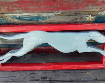 grey hound wood cut out