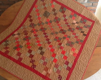 Quilt, Brown and Red Scrappy 4 Patch